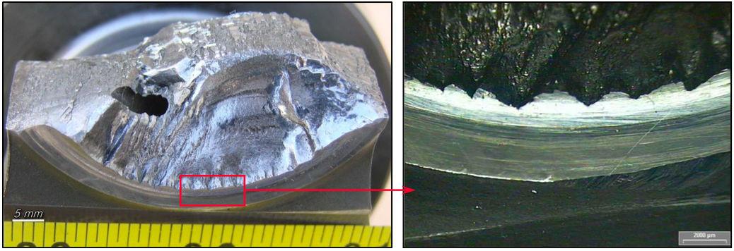 Figura 5 - Marcas con forma de diente de serrucho en radio de encuentro
