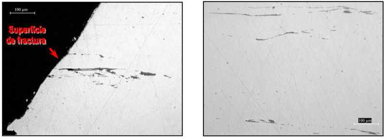 Figura 8 - Presencia de inclusiones no metálicas de diferente morfología en cigüeñal