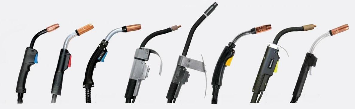 Figura 4 - Configuraciones de boquilla, gatillo y cuello para pistolas MIG-MAG