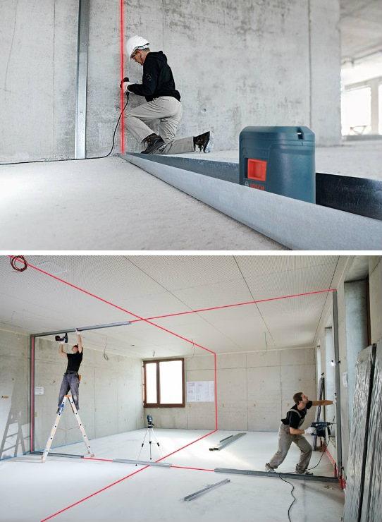 Procedimiento para uso de nivel láser de líneas - Construcción en seco