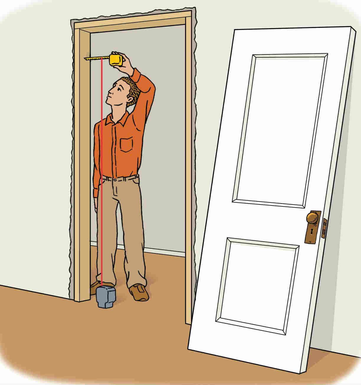 Aplomado del marco de una puerta - Uso del nivel de líneas rojas