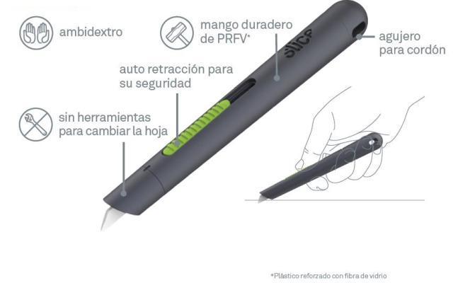 Cutter de seguridad tipo Lápiz Auto-Retráctil (SLICE-10512)