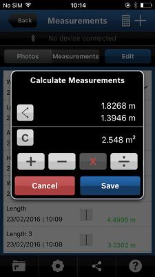 gestión de datos de medidor de distancia láser