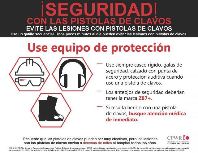 Seguridad en el uso de pistola clavadora - EPP
