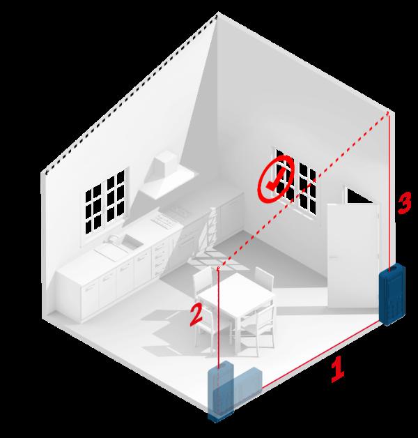 medir trapecio con medidor laser